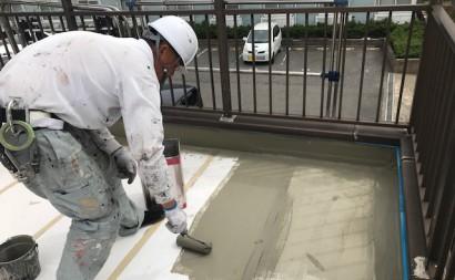 西三河西尾市通気緩衝工法ウレタン防水工事ベランダ雨漏り