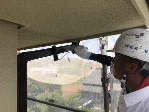 愛知県西尾市竪樋ブラウン塗装工事