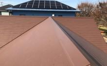 愛知県西三河西尾市安城市外壁塗装屋根塗装太陽光高反射遮熱塗装色褪せ欠けクラック汚れ屋根塗装ブラウン完成