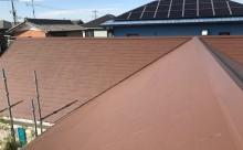 愛知県西三河西尾市安城市外壁塗装屋根塗装太陽光高反射遮熱塗装色褪せ欠けクラック汚れ板壁木屋根ブラウン外観完成施工後