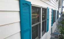 愛知県西三河西尾市安城市外壁塗装屋根塗装太陽光高反射遮熱塗装色褪せ欠けクラック汚れ板壁木外壁飾り装飾窓扉アクセントブルーターコイズブルー外観完成施工後