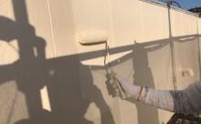 愛知県西三河東三河西尾市店舗外壁塗装屋根塗装外壁耐候性シリコン塗装屋根超低汚染遮熱シリコン塗装傷み汚れ割れクラック色褪せ欠け外壁施工写真上塗り