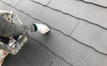 西三河西尾市屋根高反射遮熱塗装アドグリーンコートクールブラウン屋根縁切り