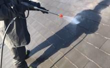 西三河西尾市屋根高反射遮熱塗装アドグリーンコートクールブラウン高圧洗浄