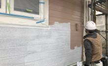 西三河西尾市外壁塗装超低汚染遮熱シリコン塗装モカ超低汚染リファイン外壁中塗り