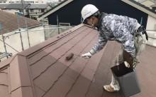 西三河西尾市屋根高反射遮熱塗装アドグリーンコートクールブラウン屋根上塗り