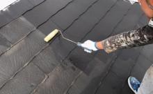 西三河西尾市屋根高反射遮熱塗装アドグリーンコートクールブラウン屋根下塗り