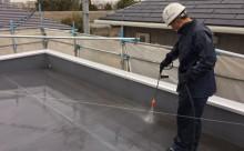 愛知県西三河東三河西尾市屋根屋上防水工事塩ビシート塗装施工写真高圧洗浄