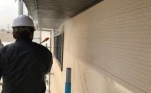 愛知県西三河東三河額田郡幸田町外壁塗装アステック超低汚染無機フッ素カラーボンドベイジュ施工写真高圧洗浄