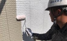 愛知県西三河東三河西尾市外壁塗装超低汚染遮熱シリコン塗装スレートグレー施工写真下塗り