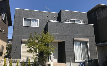 愛知県西三河西尾市外壁塗装超低汚染遮熱シリコン塗装スレートグレー屋上防水施工後