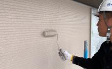 愛知県西三河東三河額田郡幸田町外壁塗装アステック超低汚染無機フッ素カラーボンドベイジュ施工写真上塗り