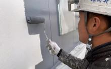 愛知県西三河西尾市外壁塗装超低汚染遮熱シリコン外壁補修浮きクラックアステックリファインSiスレートグレー中塗り