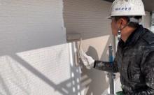 愛知県西三河東三河額田郡幸田町外壁塗装アステック超低汚染無機フッ素カラーボンドベイジュ施工写真中塗り