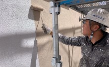 愛知県西三河東三河安城市外壁塗装ガイナ遮熱断熱施工写真中塗り