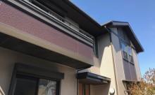 愛知県西三河東三河額田郡幸田町外壁塗装アステック超低汚染無機フッ素カラーボンドベイジュ屋根塗装トゥルーブラック外壁浮き外壁割れ施工写真外観