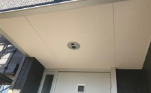 愛知県西三河西尾市外壁塗装超低汚染遮熱シリコン塗装スレートグレー屋上防水施工後軒天