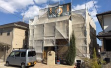 愛知県西三河東三河安城市外壁塗装ガイナ遮熱断熱施工写真足場