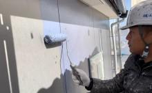 愛知県西三河西尾市外壁塗装超低汚染遮熱シリコン外壁補修浮きクラックアステックリファインSiスレートグレー上塗り