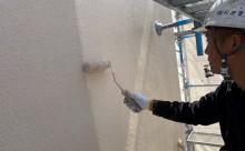 愛知県西三河東三河安城市外壁塗装ガイナ遮熱断熱施工写真上塗り