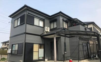 愛知県西三河西尾市外壁塗装超低汚染遮熱シリコン外壁補修浮きクラック施工後