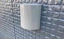 愛知県西三河西尾市外壁塗装超低汚染遮熱シリコン塗装スレートグレー屋上防水施工後フード