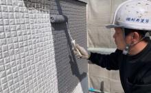 愛知県西三河東三河西尾市外壁塗装超低汚染遮熱シリコン塗装スレートグレー施工写真中塗り