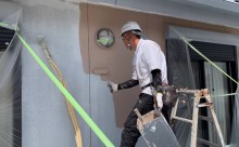 愛知県西三河東三河西尾市外壁塗装アステック超低汚染リファインSiシリコン塗装モカ色褪せ汚れ中塗り