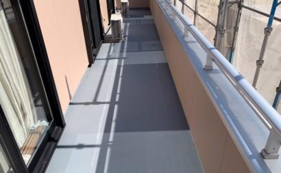 愛知県西三河東三河西尾市外壁塗装アステック超低汚染リファインSiシリコン塗装モカベランダ防水FRPトップ保護塗装仕上げ洗浄後