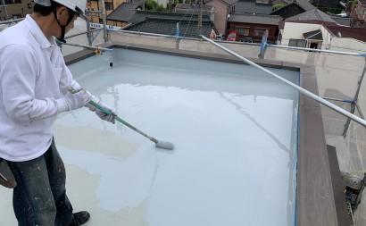愛知県西三河東三河碧南市外壁塗装工事ウレタン防水工事通気緩衝工法雨漏りウレタン2回目