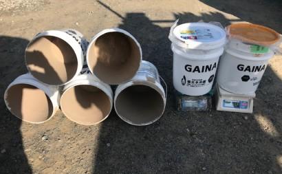 愛知県西三河東三河安城市外壁塗装ガイナ遮熱断熱施外壁上塗りガイナ19-65D使用缶数6.5缶