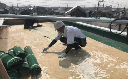愛知県西三河東三河碧南市外壁塗装工事ウレタン防水工事通気緩衝工法雨漏り防水シート撤去