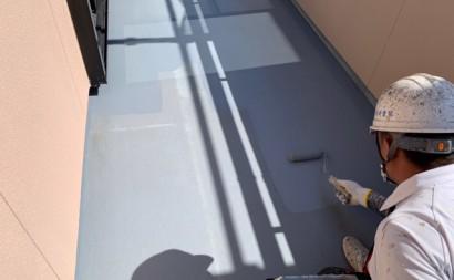 愛知県西三河東三河西尾市外壁塗装アステック超低汚染リファインSiシリコン塗装モカベランダ防水FRPトップ保護塗装仕上げFRPトップ1回目