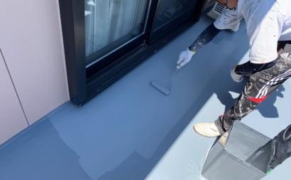 愛知県西三河東三河西尾市外壁塗装アステック超低汚染リファインSiシリコン塗装モカベランダ防水FRPトップ保護塗装仕上げFRPトップ2回目