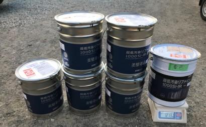 愛知県西三河東三河西尾市外壁塗装アステック超低汚染リファインSiシリコン塗装モカ色褪せ汚れ上塗り使用前5.7缶