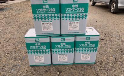愛知県西三河東三河安城市外壁塗装ガイナ遮熱断熱施外壁下塗り使用前5缶