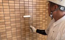 愛知県西三河東三河西尾市マンション塗替えタイル壁クリヤー塗装施工写真撥水剤1回目