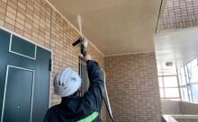 愛知県西三河西尾市マンション塗替え外壁超低汚染遮熱シリコン塗装ミッドビスケットタイル壁クリヤー塗装施工写真高圧洗浄