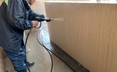 愛知県西三河東三河西尾市マンション塗替え外壁超低汚染遮熱シリコン塗装ミッドビスケット施工写真高圧洗浄