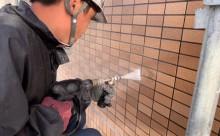 愛知県西三河東三河西尾市マンション塗替えタイル壁クリヤー塗装施工写真高圧洗浄