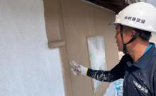愛知県西三河東三河西尾市外壁塗装工事遮熱断熱セラミックガイナ塗装ベージュ外壁施工写真中塗り