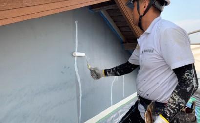 愛知県西三河東三河西尾市外壁塗装工事遮熱断熱セラミックガイナ塗装破風部切妻部塗装施工写真プライマー