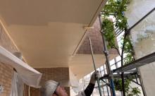 愛知県西三河西尾市マンション塗替え外壁超低汚染遮熱シリコン塗装ミッドビスケットタイル壁クリヤー塗装施工写真ケンエース2回目