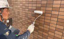 愛知県西三河東三河西尾市マンション塗替えタイル壁クリヤー塗装施工写真撥水剤2回目