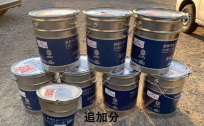 愛知県西三河東三河西尾市マンション塗替え外壁超低汚染遮熱シリコン塗装ミッドビスケット上塗り使用前8缶