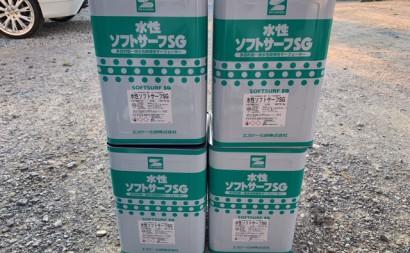 愛知県西三河東三河西尾市外壁塗装工事遮熱断熱セラミックガイナ塗装ベージュ下塗り塗料使用前4缶