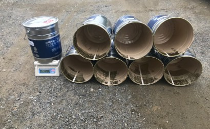 愛知県西三河東三河西尾市マンション塗替え外壁超低汚染遮熱シリコン塗装ミッドビスケット上塗り使用後7.7缶