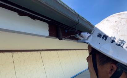 愛知県西三河東三河付帯部塗装工事手摺庇戸袋シリコン塗装鼻隠しフッ素塗装剥がれ割れ欠け汚れ施工写真中塗り