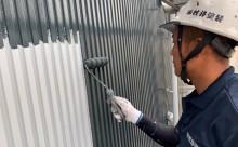 愛知県西三河東三河碧南市外壁塗装工事屋上塩ビシート防水工事アステックマックスシールドフッ素塗装外壁ガルバリウム鋼板塗装中塗り