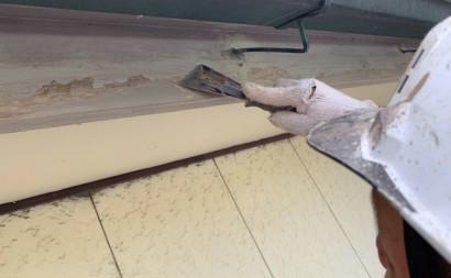 愛知県西三河東三河付帯部塗装工事手摺庇戸袋シリコン塗装鼻隠しフッ素塗装剥がれ割れ欠け汚れ施工写真ケレン作業